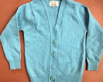 Vintage Children's Barrie for Harrods Traditional Lambswool Button Blue Cardigan, Heritage, Prince George, Royals, Wool 3-4 Y