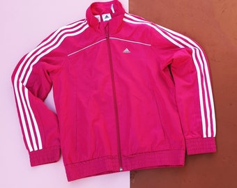 Retro Kids Adidas Cerise Pink Climacool White Stripes Tracksuit Jacket 10-12 Y, Three Stripe Tracksuit Jacket, Sportswear
