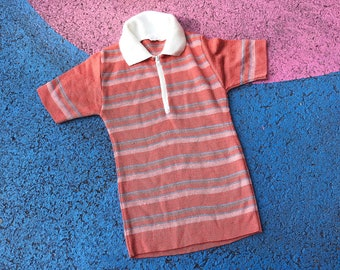 Vintage 1970s Kids Child Striped Peach Stretchy Mod Top 2-3 Y, boho, mod, kids vintage, retro kids, unisex