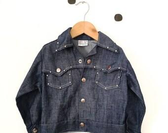 Vintage 50s Billy the Kid Western Rockabilly Denim Jacket Coat Rare 2 3 Y