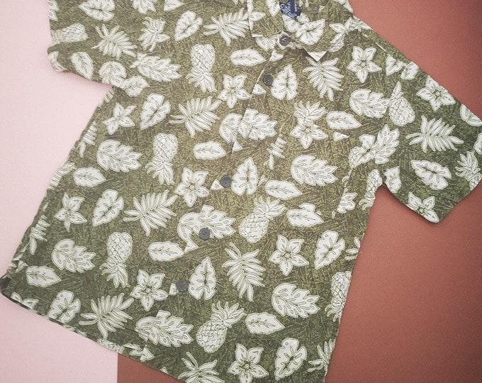 Vintage Kids 90s00s y2k Cherokee Aloha Hawaiian Pineapple Shirt 6-8 Y
