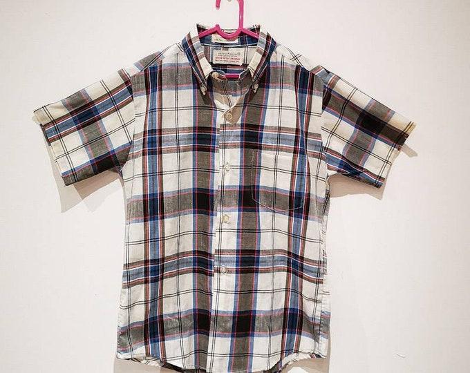 Vintage Children's Blue and White Check Shirt 8Y, retro kids, mod, 70s shirt, vintage kids clothing