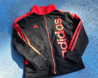 Vintage Adidas Black Red 90s Y2K Tracksuit Jacket 4-5 Y, Three Stripe Tracksuit Jacket, Sportswear