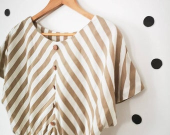Vintage Womens Chevron Beige Brown Stripe Summer Casual Stripy Dress Size 10 12