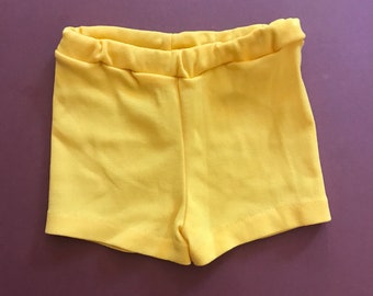 Vintage Baby 70s Kids Children's French Yellow Stretch Lightweight Retro Shorts 6-12 M