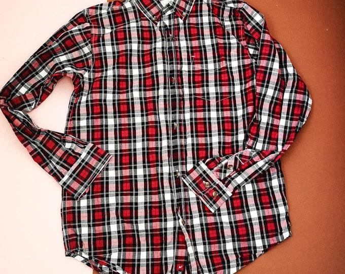 Vintage Kids Teens 90s 00s Y2K Plaid Check Red Shirt 12 Y
