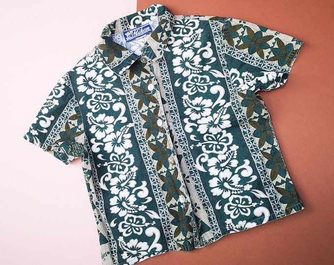 Vintage Kids Hawaiian Floral Aloha Tiki Tropical Blouse Shirt 6-7 Years
