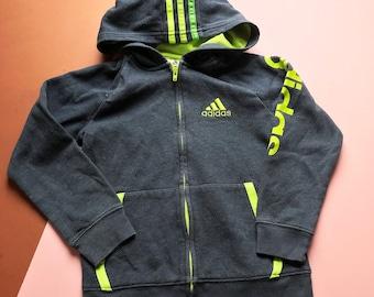 Retro Kids Adidas Grey Green Casual Unisex 90s Y2K Sweatshirt Hoodie 4-6 Y, grunge, zip up, britpop, sportswear