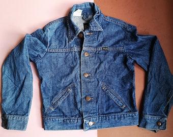 Vintage Kids Wrangler Light Chore Mid Wash Blue Denim Jacket, Unisex Classic Utility Casual, 5-7 Y