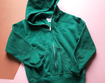 Vintage Kids Lee Racing Green Casual Unisex 90s Sweatshirt Hoodie 8-10 Y, grunge, zip up
