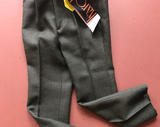 60s 70s Children's Kids Green Check New Old Stock Trousers 4 Y / TV Prop Costume