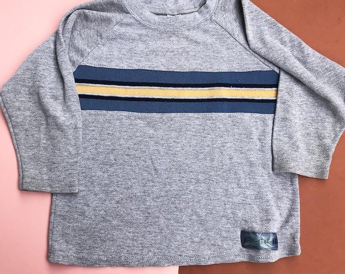 Vintage 80s 90s Kids Children's Lee Grey Striped Sweater Top Jumper 2-4 Y