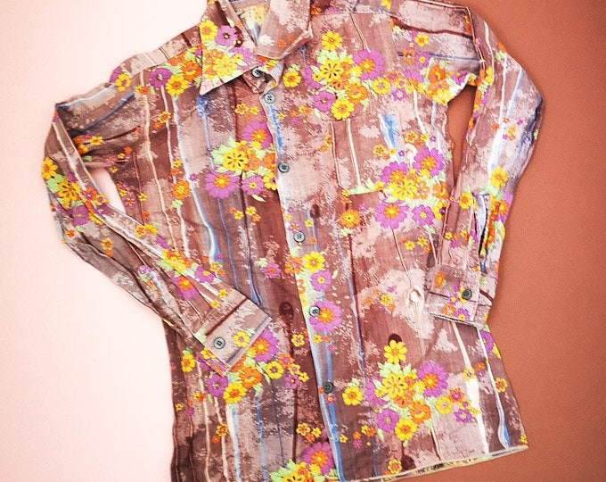 Vintage Kids Children's 70s French Patterned Floral Hippy Shirt 10 Y