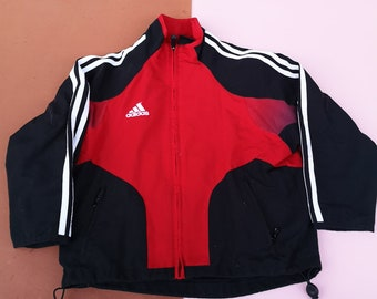 Retro Adidas Kids Unisex Three Stripe White Red Black Britpop Tracksuit Jacket 5-7 Y, sportswear, kids vintage