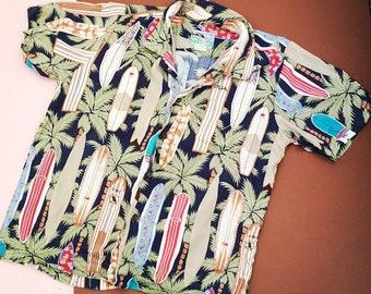 Vintage Kids 80s Hawaiian Tiki Palm Tree Souvenir Holiday Tropical Shirt Top 8 Y, retro kids, children's clothing, vintage shirt