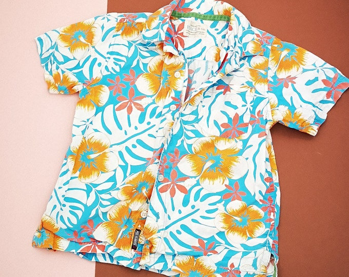 Retro Kids Floral Hawaiian Patterned Tiki Tropical Casual Shirt 5-6 Y