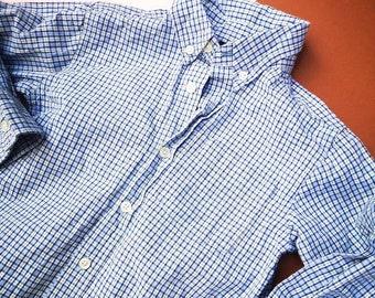 Osh Kosh Boys Blue White Checked Shirt Age 5 American Plaid Classic Retro 90s y2k