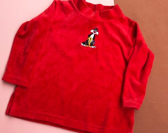Vintage Kids 1990s Sylvester Tweety Pie Warner Bros. Studio Store Velour Top 3-4 Y, unisex, red, cotton blend, novelty