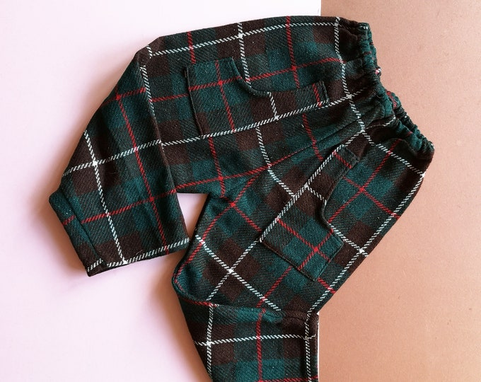 Vintage Kids 70s Tartan Trousers 3-4 Y / plaid check / festive unisex / children's retro vintage