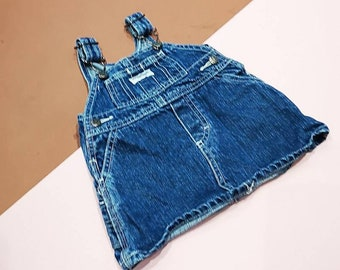 Vintage Baby Kids Osh Kosh Classic Denim Dress 0-6 M, 90s Grunge, Overalls Romper Dungarees, cute, classic