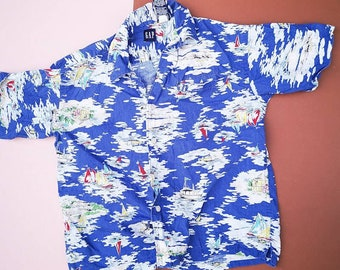 Vintage Kids 90s Y2K Hawaiian Patterned Tiki Aloha GAP Retro Casual Shirt 7-8 Y