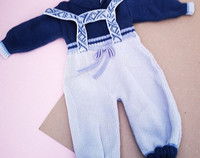 Vintage Baby Kids French Blue Unisex Ski Knitted Romper All In One 0-6M