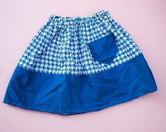 Vintage Kids 70s Houndstooth Blue Skirt 2-3 Y