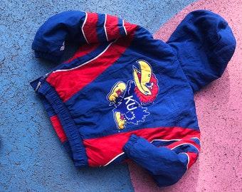 Vintage Kids Kansas Jayhawks Padded Pullover Jacket 6 Y, sportswear, coat, athletic, streetwear