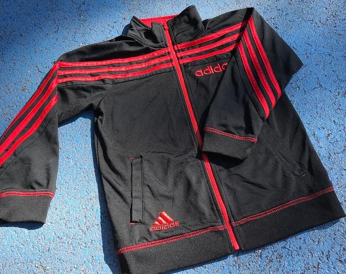 Vintage Adidas Black Red 90s Y2K Tracksuit Jacket 5-7 Y, sportswear, retro, britpop, wavy