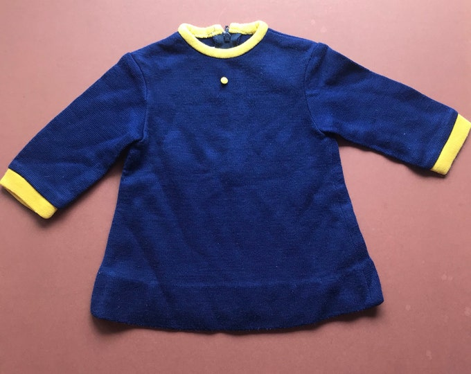 Vintage Baby Children's 1960s French Navy Yellow Mod Dress 0-6 M