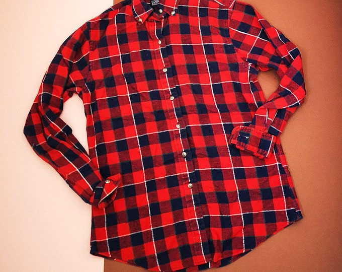 Vintage Women's 90s Lands End Red Blue Flannel Lumberjack Blouse Shirt 10-12 Small