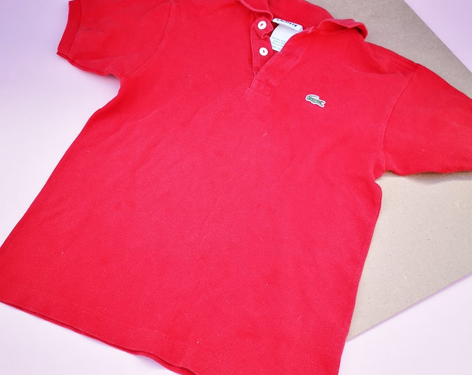 Vintage Kids Lacoste Red French Designer Short Sleeve T Shirt Polo Top 6-8 Y
