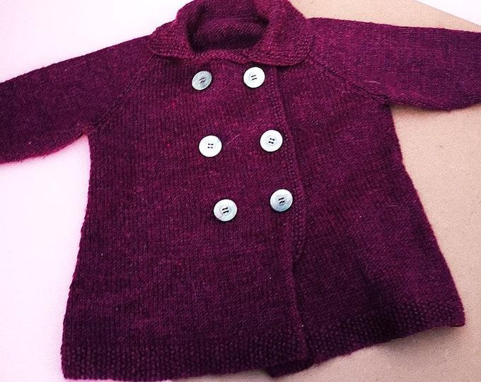 Vintage Kids Purple Children's Handknit Cardigan Jumper 3-4 Y