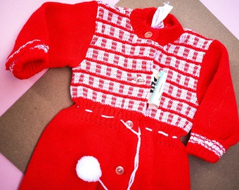Vintage Baby Deadstock Eastern European Pom Pom Romper 6-12 M