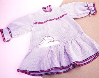 Vintage Baby Children's Kids 80s 90s Light Purple Knitted Cloud Dress 0-6 M