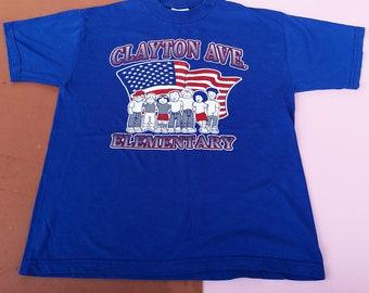 Vintage Kids Clayton Avenue Elementary Blue T Shirt 10 Y