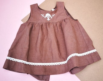 Vintage Baby Kids Brown Smock Embroidered Children's Dress 6M, retro kids, kids wear, vintage dress