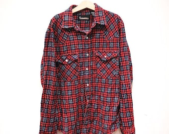 Vintage Children's TimberRidge 90s Flannel Red Lumberjack Shirt 8 Y, retro kids, classic, prop, rockabilly, tv, wardrobe