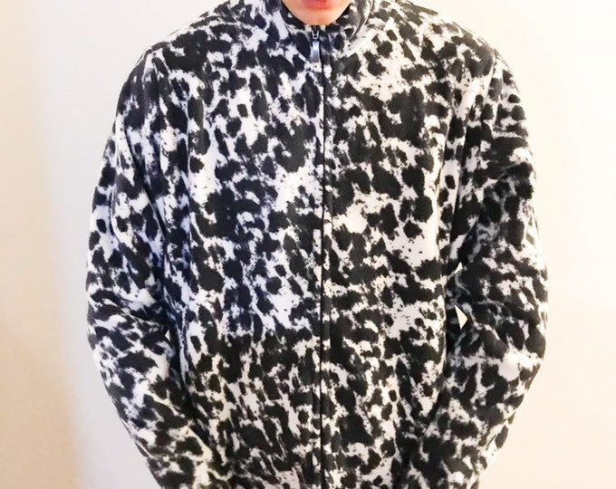 Vintage 90s Y2K Abstract Blue Black White Monochrome Ink Splat Brush Fleece, XL, unisex, retro