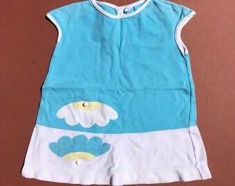 60s 70s Vintage Baby Children's Carters Blue Summer Cotton Dress 2 Y