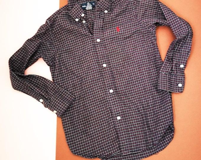 Vintage Kids Ralph Lauren 90s Blue Purple Long Sleeve Shirt 5-7 Y