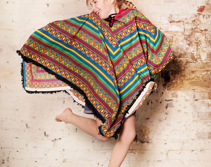 Vintage 80s Party. Poncho. Rewind. Fancy Dress. 100% Cotton. Cape. One Size Prop