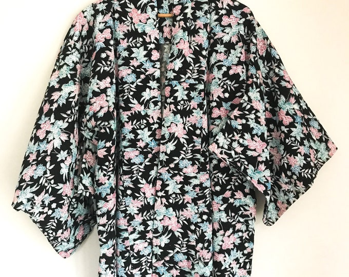 True Vintage Women's Japanese Black Floral Retro Casual Deadstock Unworn Kimono Jacket Coat Free Size One Size