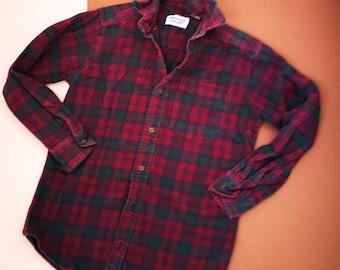 Vintage Kids Purple Flannel Rugged Bear Children's Plaid Lumberjack Check Shirt 8-10 Y