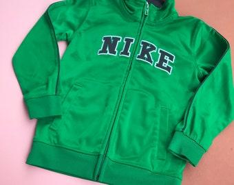 Retro Kids Nike Green 90s Y2K Tracksuit Jacket 2-4 Y, sportswear, streetwear, grunge, neon, unisex