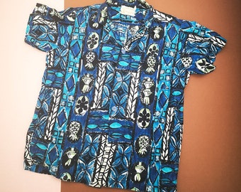 Vintage Kids Royal Hawaiian Aloha Floral Patterned Shirt 6-8 Y