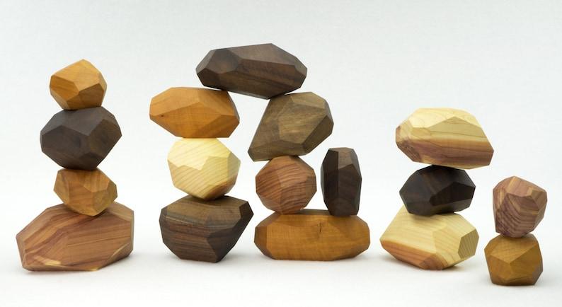 17 piece Tumi Ishi set wooden blocks Wood Stones Baby image 0