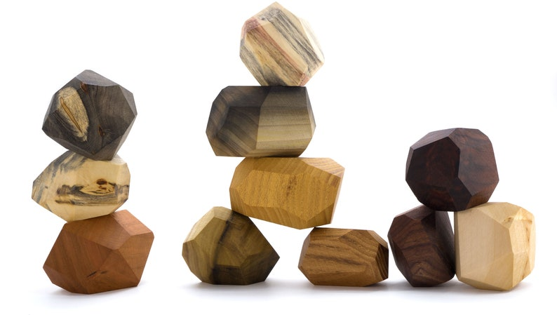 11 piece Tumi Ishi set Wood Blocks Wood Stones wood toy image 0