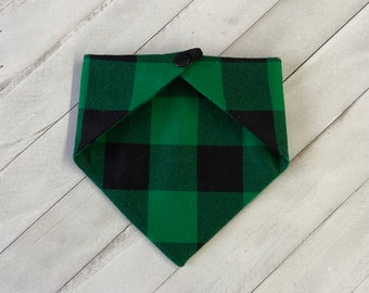 Pet Bandana - Green Plaid Flannel