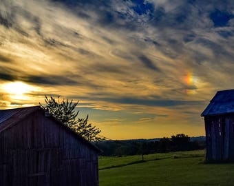 Sunset Between the Barns Photo
